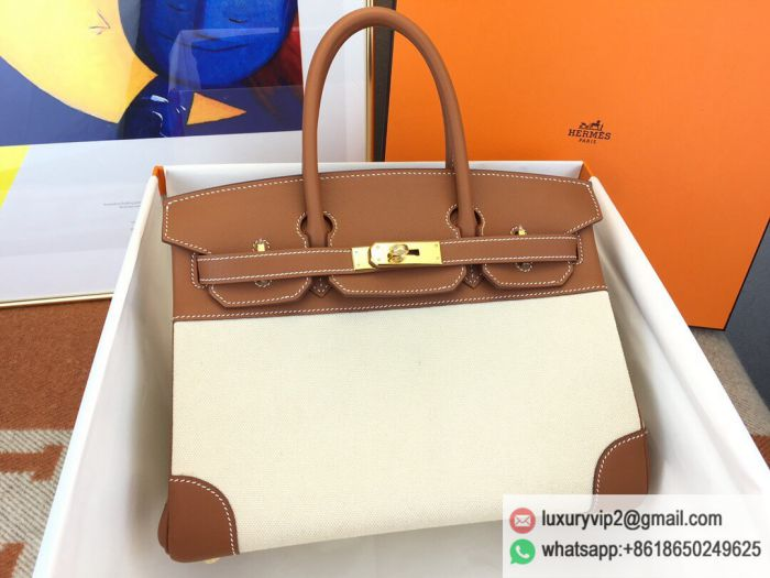 Hermes birkin 30 swift Canvas Gold Buckle Tote Bags