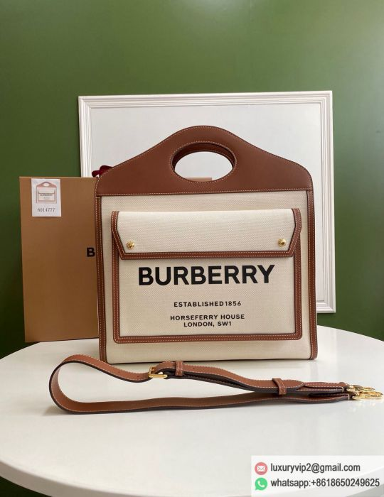 Burberry Leather Canvas beige Large Shoulder Bags