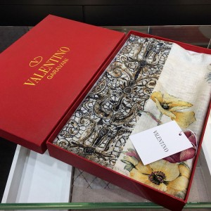 Valentino Flower Double Combination 100% Top Pure Cashmere Scarf