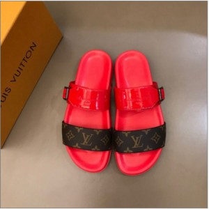 LV material luxury men's presbyopia red slippers