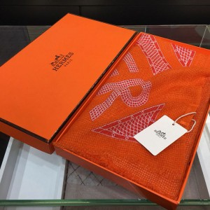 Hermes geometric flower bed 100% top pure cashmere scarf