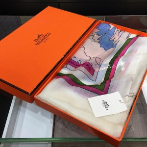 Hermes 'Paris Girl' 100% top pure cashmere scarf