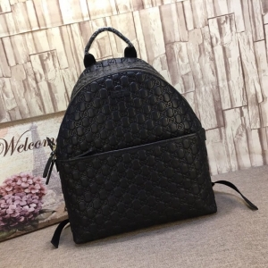 Gucci backpack men Gucci new full leather embossed GG pattern top leather Zip backpack 246414g full leather